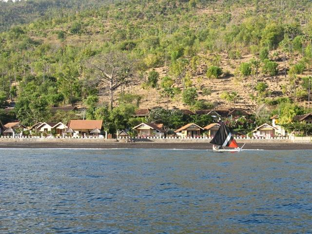 Kembali Beach Bungalows from the sea